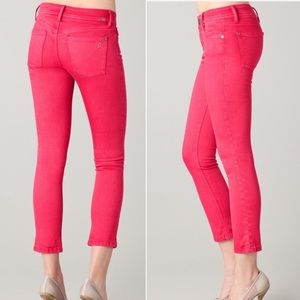 DL1961 punch-pink skinny ankle jeans, size 26